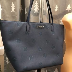 Kate spade large blue sparkle polka dot purse